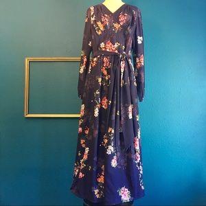 eShakti Maxi dress, deep purple floral print, 2X